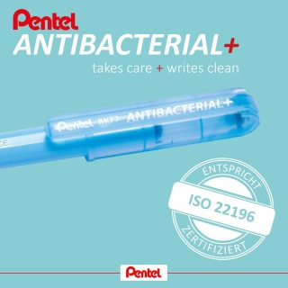 NEWS!⁣ ⁣ We would like to present our new Pentel Antibacterial+ ballpoint pen. It is manufactured from an antibacterial plastic.⁣ ⁣ Both the pen barrel and cap of the Antibacterial+ contain silver ions with antibacterial, biocidal properties, which prevent bacteria spreading across the surface of the pen. This keeps bacterial counts as low as possible.⁣ ⁣ This helps to significantly reduce contamination and the associated risk of infection when the pen is used and potentially shared with others. This makes the pen perfect for public-facing applications.⁣ ⁣ The Pentel Antibacterial+ will be a welcome problem-solver in situations where you previously needed to ensure the regular disinfection of your writing implements. This antibacterial effect is permanent and lasts as long as the pen itself lasts.⁣ ⁣ Product:⁣ Pentel Antibacterial+ ballpoint pen BK77AB, available in standard writing colours⁣ ⁣ #pentel #pentel_eu #ballpointpen #kugelschreiber #pen #antibakteriell #antibacterial #hygiene #silberionen #silverion #pentelantibacterial