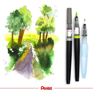 Summer is a great time for urban sketching. Being outside and being creative. Do you enjoy urban sketching? created by @bibis_bloghuette Products: Colour Brush GFL Aquash Brush water brush FRH  #pentel #pentel_eu #pentelarts #pentelcolourbrush #pentelaquash #watertankbrush #urbansketching #watercolour #aquarell #sketchdaily #sketching #natur #nature #naturedrawing #waterbrush