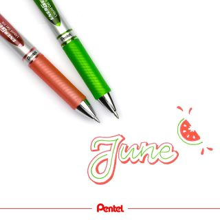 Hello June! created by @luckymecaro Products: Energel BL77-K (light green), BL77-P3 (coral - new colour)  #pentel #pentel_eu #ENERGEL #pentelenergel #energelpens #pen #papeterie #stationery #bulletjournal #monthlylog #june #juni #hellojune #watermelon #melon #wassermelone #melone #summer #sommer #summerfeeling #lightgreen #coral