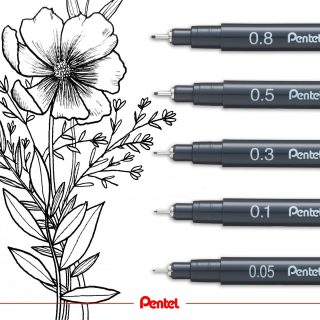 Spring time is finally here. Enjoy nature and use the time to draw flowers. created by: @bibis_bloghuette Product: Pointliner Fineliner S20P  #pentel #pentel_eu #pentelarts #pentelpointliner #fineliner #pointliner #drawing #flower #blume #flowerdrawing
