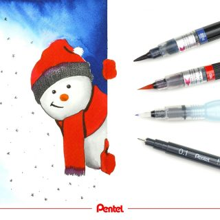 It is World Snowman Day! When did you build your last snowman?⁣ created by @bibis_bloghuette⁣ ⁣ Products:⁣ Colour Brush GFL⁣ Aquash Watertankbrush FRH⁣ Pointliner Fineliner S20P⁣ ⁣ #pentel_eu #pentel #pentelarts #snowman #schneemann #snowmanday #snowmanpainting #watercolor #watercolorwinter #watercolour #aquarell #letitsnow #pentelcolourbrush #pentelcolourbrush #pentelaquash #watertankbrush #pentelpointliner #fineliner